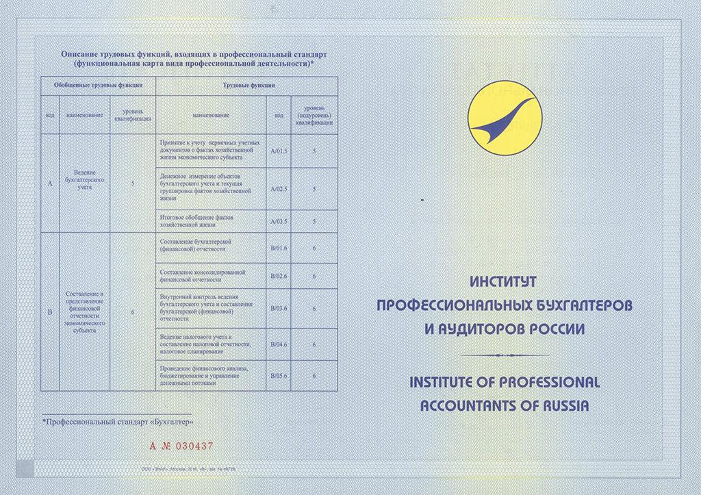 Аттестат профессионального бухгалтера ИПБ России